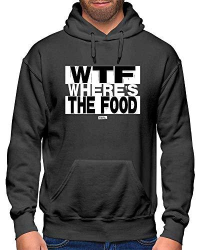 HARIZ Herren Hoodie WTF Wheres The Food Sprüche Schwarz Weiß Plus Geschenkkarten Dunkel Grau - Wtf Party Kostüm