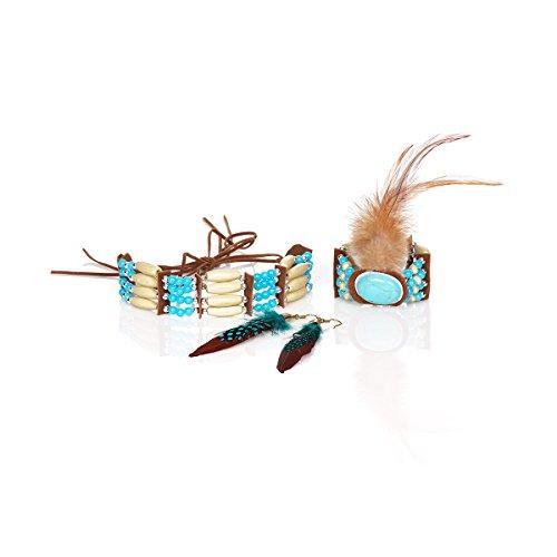 Kostümplanet Indianer Schmuckset Damen Halskette Armband Ohrringe (Indianer Kostüm Schmuck Ohrringe)