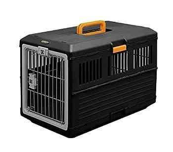 Iris Ohyama, Caisse de transport / cage de transport pliable 2 portes, pour chien et chat max 20 kg - Pet Carry - FC-670, plastique, noir, 6 kg, 68,6 x 40,3 x 47,8 cm