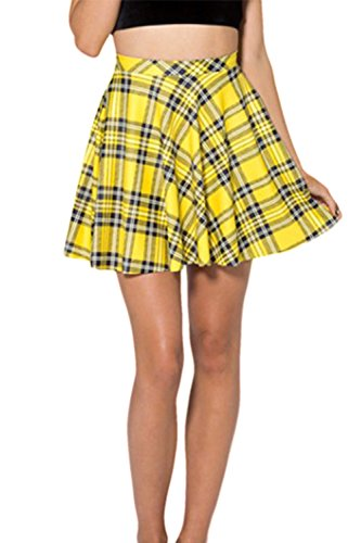 Women's Stretchy Pleated Plaid Mini Skater Skirt, Yellow