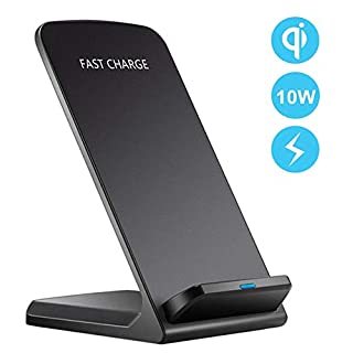 HFAN Fast Wireless Charger, Qi-Certified Wireless Charging Stand,7.5W Compatible for iPhone Xs Max/XR/XS/X/8/8 Plus,10W Fast-Charging for Galaxy S10/S10 Plus/Note 9/S9/, 5W All Qi-Enabled Phones