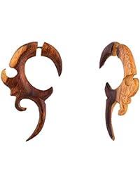 97f27f95d7ff Aretes tibetanos de madera antigua tallada tribal africano de gran calibre  falso 2