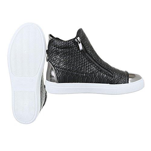 Sneaker High-top Scarpe Da Donna Sneakers Alte Italiane Scarpe Casual Ital-design Nere