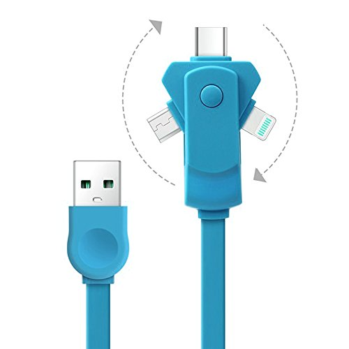 3 in 1 Blitz & Micro USB Tpye & C Ladekabel Kabel für Apple iPhone 8 Pin 7 6 6s Plus-iPad Samsung Sony HTC LG ETC | 360 Umdrehung 3.3ft / 1m 2.1A Schnellladung Durable Wohnung Noodle Entwurf (Blau) (Ihome-lightning-dock-adapter)