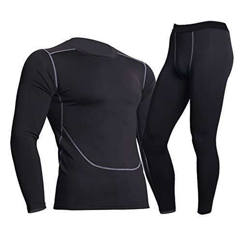 Herren Funktionswäsche Trainingsanzug - Juleya Thermo-Unterwäsche Set kompressions T Shirt Tops&Leggings Base Layer Basic Unterwäsche Fitness Kompressionsanzüge (Shirt Thermo-unterwäsche Top)