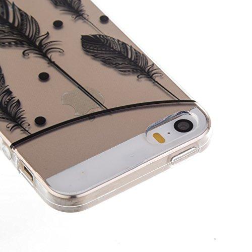 Coque Housse Etui pour iPhone SE, iPhone 5S Coque en Silicone, iPhone SE / 5S / 5 Slim Coque Transparent Soft Etui Housse, iPhone SE / 5S Silicone Case TPU Protective Gel Cover Skin, Ukayfe Etui de Pr plume