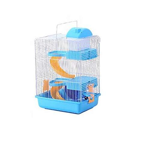 WXH Hamster Reisekäfig Tragbarer Träger für Kleintiere Massiver Metalldrahtkäfig und Tragegriff Kunststoffbasis Sichere Materialien,lightblue