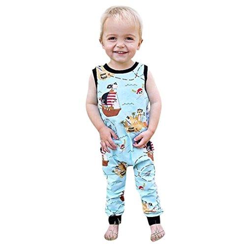 end Kleinkind-Baby-Junge-Mädchen Kleidung Striped Jumpsuit Overall Outfits Blau Twill Roben Mode Piraten Karikatur Drucken Reißverschluss Kurzarm Strampler Playsuit (Blau, 12M) (Kleinkind-mädchen-piraten-outfit)