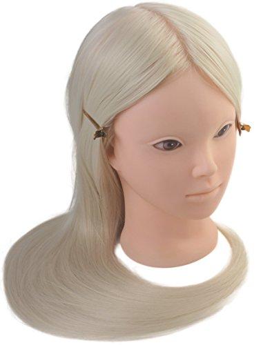 Tête à coiffer de cosmétologie 60 cm, tête en fibre synthétique haute température, tête à maquiller, couleur blonde.