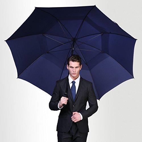 Vilapur Ouverture automatique Parapluie de golf (Ft-03-001), Extra Large très double auvent ventilé coupe-vent imperméable bâton parapluies M bleu