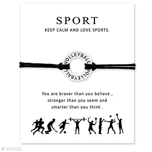 YIYIYYA Pulsera Unisex Voleibol Softbol Béisbol Fútbol Baloncesto Tenis Hockey Hielo Deportes Encanto Pulseras Mujeres Hombres Tarjeta Regalo Joyería,01