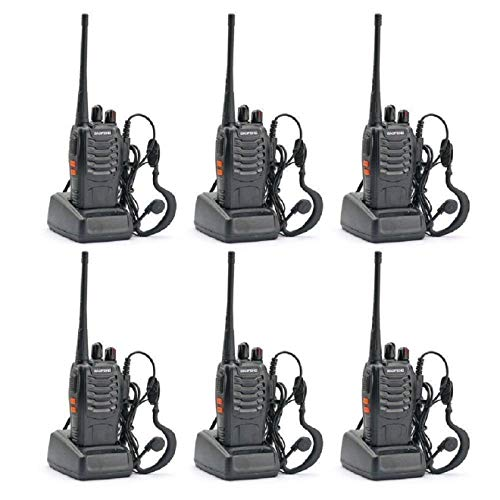 Baofeng BF-888S UHF 400-470MHz 16CH CTCSS/DCS Handheld Amateur Radio Walkie Talkie 2 Way Radio Long Range, Black (6 Pack) (Original Product Sold by SEC-spydo Electronics Company Only)