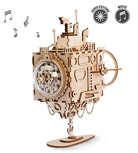 ROKR Kit de Caja Musical de Madera Puzzle de Madera 3D Mechanical Model Construction Kit-Proyectos Divertidos para Adultos y Niños - Maqueta 3D de Funcionamiento mecánico (Submarine)
