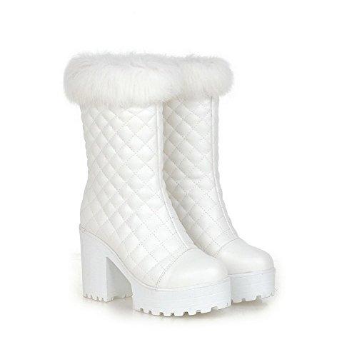 AgooLar Damen Ziehen Auf Hoher Absatz Rein Mitte-Spitze Rund Zehe Stiefel Weiß