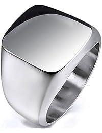 MENDINO Unisex joyas cuadrado brillante de sello pulido fundido plata Royal Classic–Anillo de acero inoxidable con una bolsa de regalo de terciopelo
