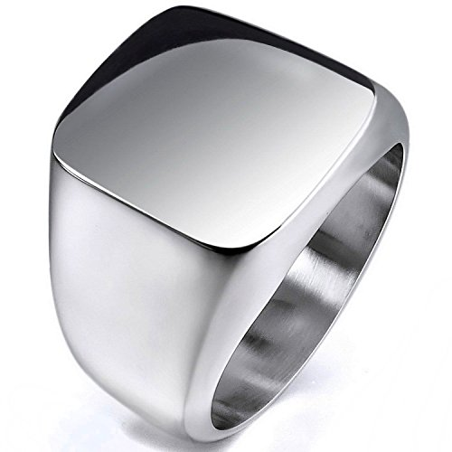 MENDINO gioielli, Unisex, modello a sigillo, in argento lucido, Royal Classic-Anello in acciaio INOX con un sacchetto regalo in velluto, acciaio inossidabile, 22, cod. JRG0065SI-6 UK