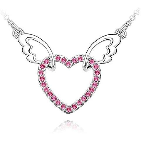 Placcati oro 18 k, a forma di ali d'angelo, a forma di cuore, colore: rosa con pendente in cristallo Swarovski Elements