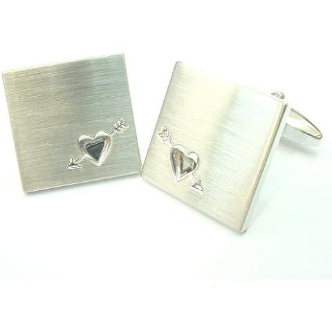 Gli amanti piazza spazzolato freccia d'argento del cuore Deluxe Gemelli