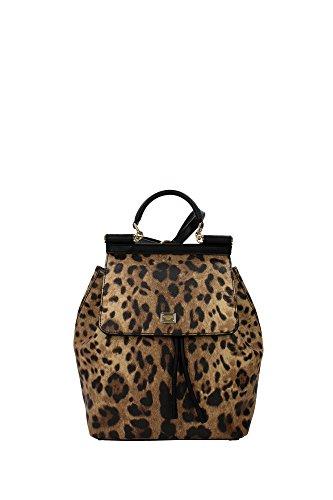 Tasche Rucksack Dolce&Gabbana Damen Stoff Leopard BB6036A71588S193 Beige 14x28x22.5 cm (Gabbana Leopard)