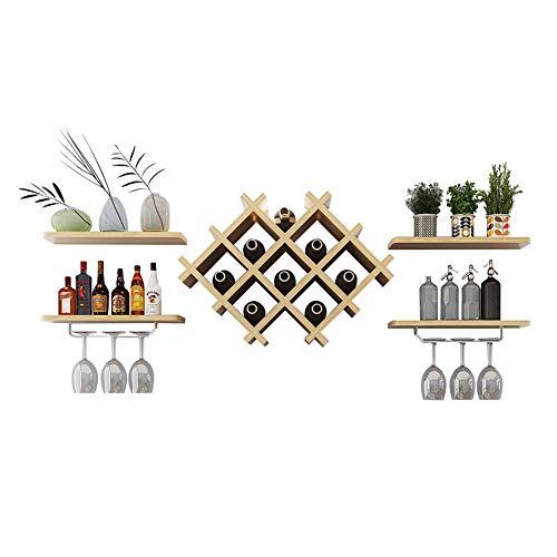 LXLA- Moderner An der Wand Befestigter Wein-Kühler, Hölzerner Flaschen-Gestell, Minimalistischer...