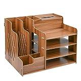 FOCCTS Schreibtischorganizer Holz, Lesfit Tisch Organizer Büro Veranstalter Multifunktionaler Schreibtisch Ordentlich Stationärer Aufbewahrungsschrank mit Montagehäkelnadeln für Bürobedarf