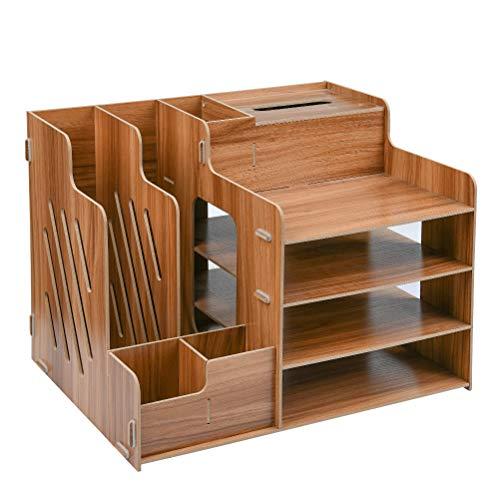 FOCCTS scrivania organizzatore scrivania da tavolo in legno organizer da ufficio organizer scrivania multifunzionale Tidy armadio di stoccaggio stazionario con assemblaggio uncinetti per ufficio.