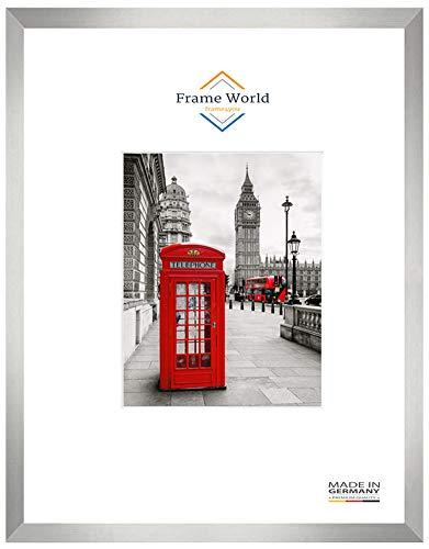 Frame World MEX38 Bilderrahmen für 50 cm x 60 cm Bilder, Farbe: Alu Silber geschliffen, MDF-Holz Rahmen nach Maß mit entspiegeltem Acrylglas, Aussenmaß: 55,6 cm x 65,6 cm