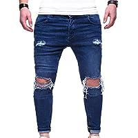 Mxssi Pantalones Pitillo Deshilachados Denim Destroyed Frayed Denim Ripped Jeans