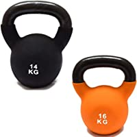 FXR Sports CAST IRON SET OF 14/16kg KETTLEBELLS WITH RUBBER SLEEVE HOME GYM