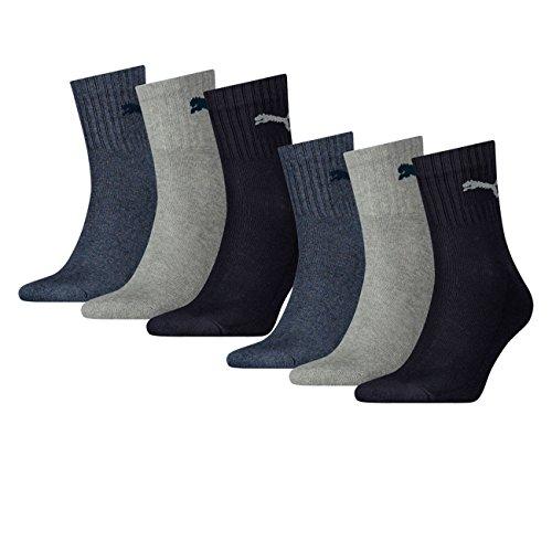 Puma Unisex Short Crew Socken Basic Sportsocken 6er Pack, Größe:43-46, Farbe:Navy/grey/Nightshadow Blue (532)
