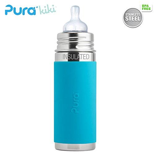 Pura Kiki ISO-Flasche - 250ml - Weithalssauger (inkl. Schutzkappe) Pura ISO 250ml Weithalssauger/Blau