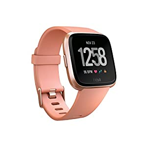 Fitbit Unisex Versa Health and Fitness Smartwatch, Peach, One Size
