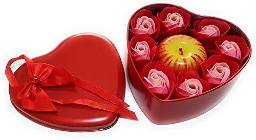 Caja CORAZÓN, Manzana Y Rosas Rojas AROMÁTICAS Caja de Regalo con Encanto. Regalo Ideal para el Aniversario, el día de San Valentín y el día de la Madre. Regalo de Velas aromáticas.