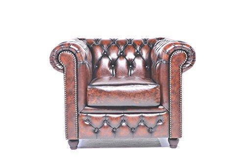 Original Chesterfield Sessel - 1 Sitzer - Vollständig Handgewaschenes Leder - Antik Braun