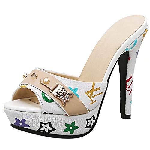 AIYOUMEI Damen Peep Toe High Heels Plateau Pantoletten mit Blumenmuster Bequem Modern Pailletten Sandalen Schuhe -