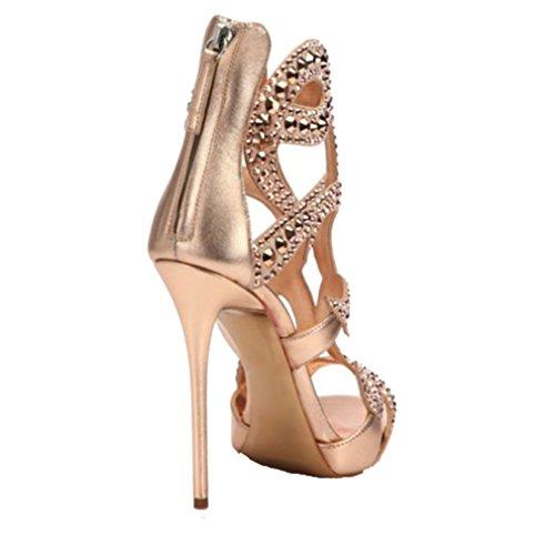 ENMAYER Femmes Gladiator Talon Plat Talon Ouvert Talon Bottines Chaussures de Conception en Cuir Verni Sandales Retour Zip Fermeture Chaussures Plus Size Champagne(CR070803)