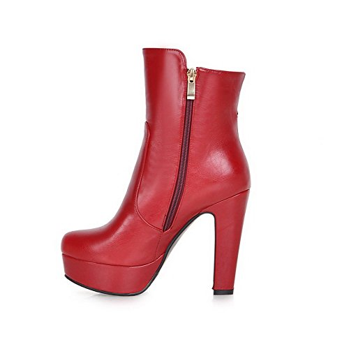 AgooLar Damen Reißverschluss Hoher Absatz Rund Zehe Pu Leder Reißverschluss Stiefel Rot