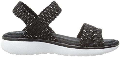 negro Brisa Negro Deformado Skechers Sandalias De De Mujer Contraparte Plata 8fqwTg