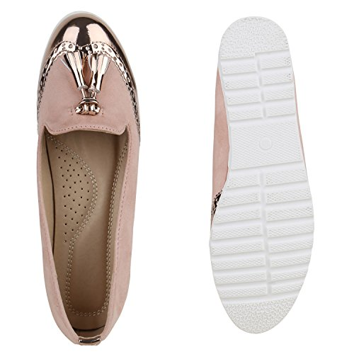 Damen Slipper Lack | Plateau Loafers | Metallic Schuhe Profilsohle | Loafer Flats Glitzer | Slippers Quasten Lochung Rose Gold Metallic