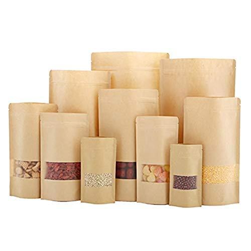 10 Papier selbstdichtend Druckverschlussbeutel Tee Mutter Trockenfutter Fruit Fenster Verpackung Staubbeutel Stand up Staubbeutel, Gelb, 12 * 20CM