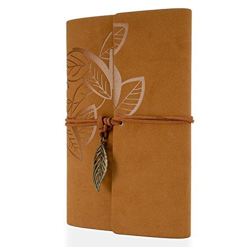 Foonii Retro Notebook copertura del cuoio di chiave foglie misteriosi 80 Blank Jotter Diario (Marrone (Foglia Telefono)