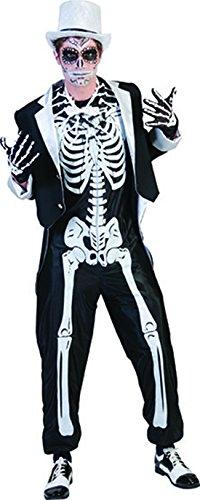 Fancy Ole - Herren Männer Halloween Karneval Kostüm Set Skelett Horror-Bräutigam, Sugar Skull, Day of Death, XL, Schwarz (Sugar Skull Kostüm Männer)