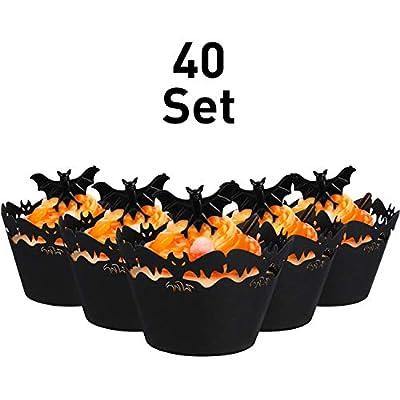 40 Ensembles Emballages de Cupcake Cuire Papier à Gâteaux et Anneaux en Plastique Anneaux de Jouets Accessoires de Décoration de Gâteau pour Fête Halloween(Chauve-Souris, Bague de Chauve-Souris Noire)