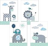 Lalelu-Prints 4er Set Poster Kinderzimmer Deko Junge Mädchen DIN A4 Dschungeltiere mint grün Elefant Löwe Giraffe Nilpferd Dschungel Safari I Kinderbilder Wandgestaltung Babyzimmer Wandbilder