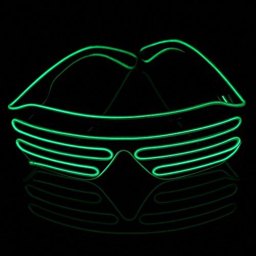 Xcellent Global El.Draht Brille Neon LED Leuchten Schwarz Shutter Rahmen Party Lichter Dekorationen für Halloween Kostüme Weihnachten, Grün LD127G