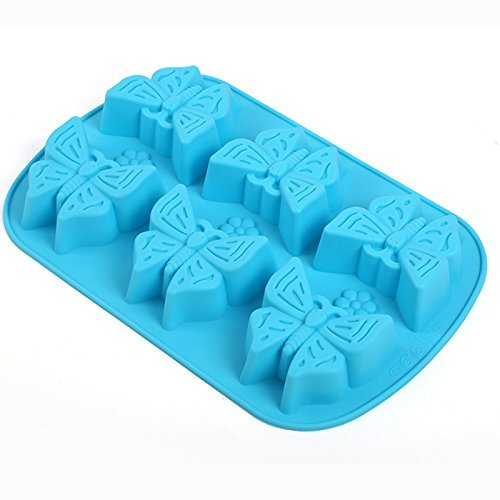 Always Your Chef 6-Cavity Silicone Cupcake Baking Cups Handmade Soap Molds, Candy Molds & Chocolates Molds & Ice Cube Trays,Butterfly Shaped, Random Color by Always (Heart Shaped Ice Cube Trays)