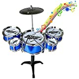 Blossom 9 Piece Set Mini Jazz Drum Percussion Instruments Set Kit Musical Toys With High Straight PVC Material Drumhead For Kids, Random Color
