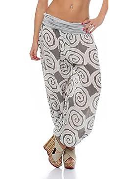 malito Bombacho con espiral diseño Boyfriend Aladin Harem Pantalón Sudadera Baggy Yoga 1718 Mujer Talla Única