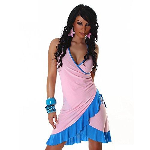 Damen Mini Kleid Sexy Sommer Damen Kleid mit Halskrause eine Größe UK 8, 10, 12, 14–Eine Größe EU 36, 38, 40, 42 - Light pink - blue