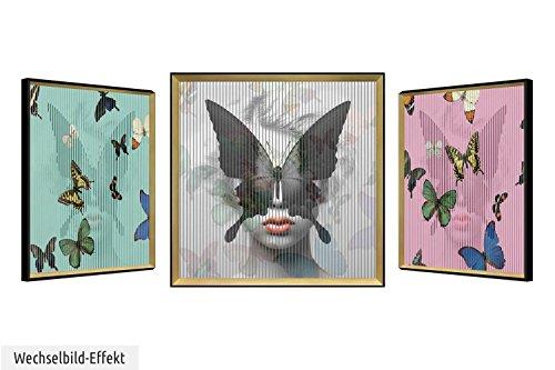 KunstLoft Trendiges 3D Wechselbild 'Mariposa Hermosa' 83x83cm | Handgefertigte Vintage Wanddeko Papier | Schmetterlinge Tiere Frau | Wackelbild Trendige Kunst | Lentikular Bild im Bilderrahmen Mariposa Tiere
